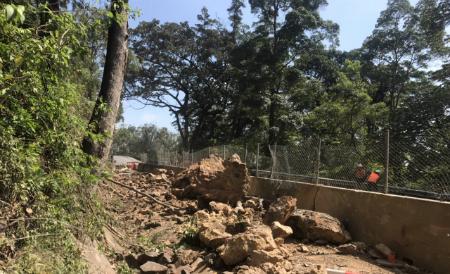 Rock scaling debris